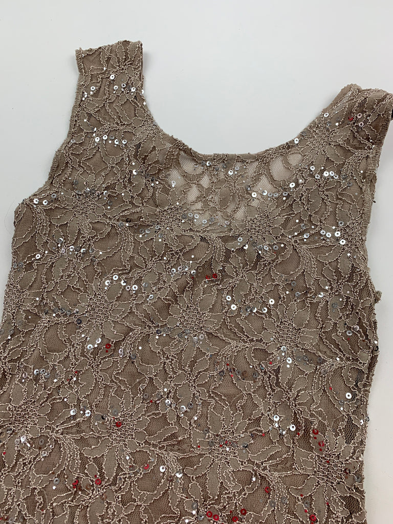 Chelsea & Violet Women's Floral Taupe stretchy Sequin Bodycon Dress Size M