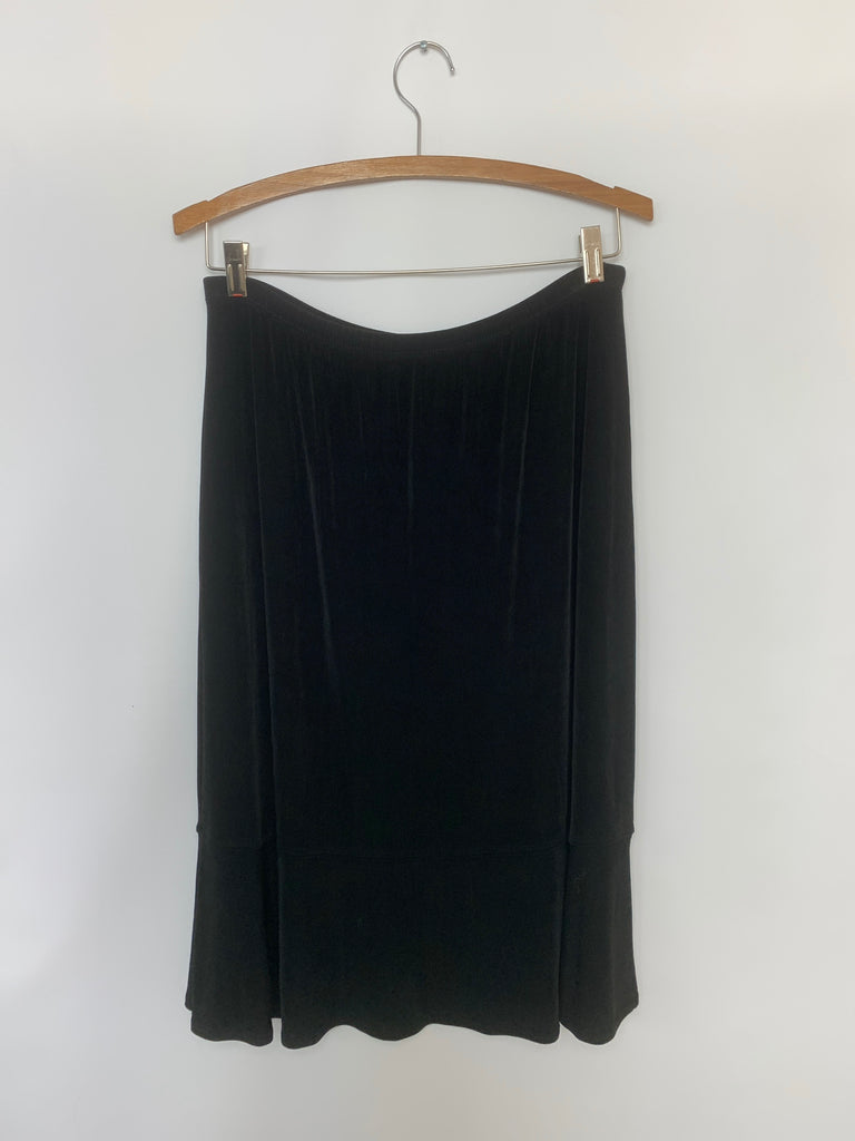 Chico'S Women's Black Swing drape stretchy Skirt Size 2