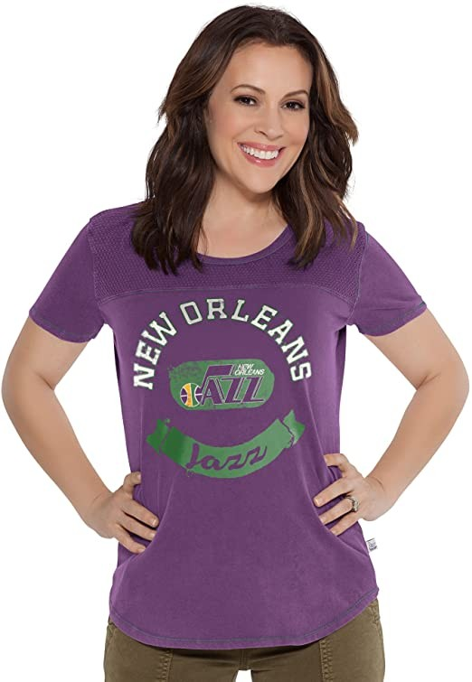 Touch by Alyssa Milano NBA New Orleans Jazz Gridiron Tee, Large, Purple