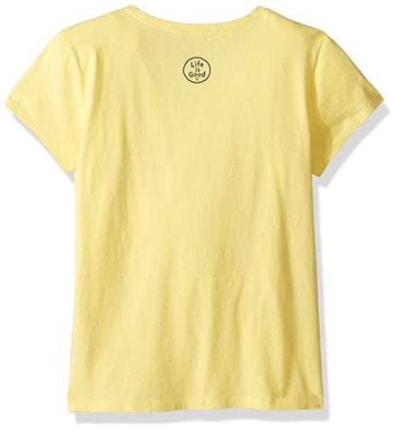 Life is Good Girls Crusher T-Shirts ,Smiling,Happy Yellow,X-Large