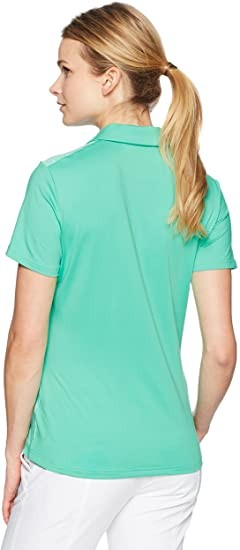 adidas Golf Women's Crossover Novelty Short Sleeve Polo, Hi-Res Green, Large