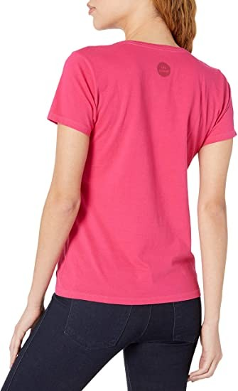 Life is Good Women's Crusher Vee Lucky Dog Tee, Pop Pink, Small