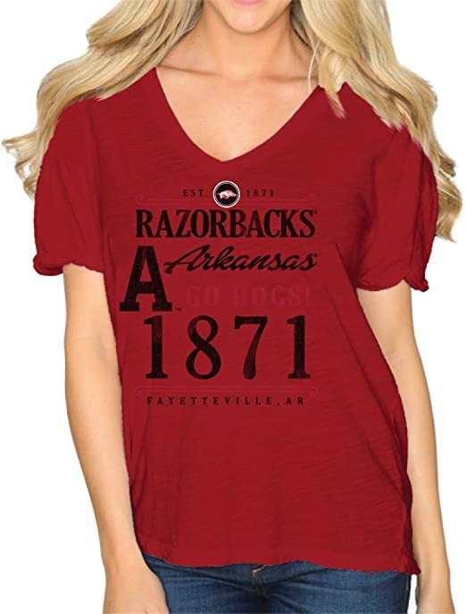 NCAA Arkansas Razorbacks Women's Slub V Neck Tee, Small, Cardinal