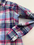 Chaps Women's Blue Plaid No iron long sleeves Button Down Shirt Top Size M