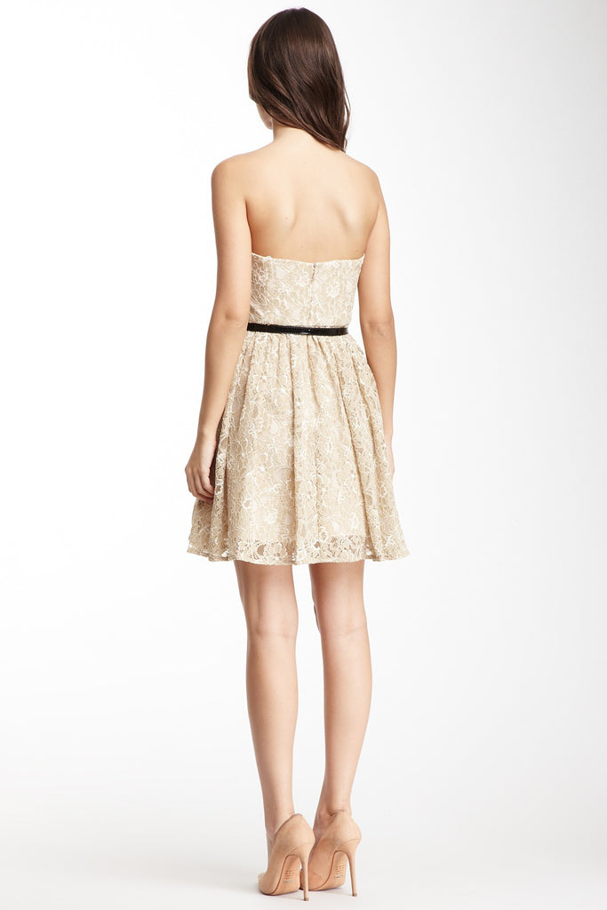 NWT Max and Cleo Women's Cream Strapless cocktail Lace Dress Size 4