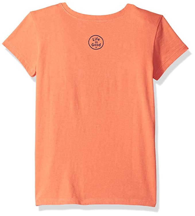 Life is Good Girls Crusher T-Shirts Scary Happy,Fresh Coral,X-Large