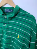 Polo By Ralph Lauren Men's Green Striped Short Sleeve Cotton Polo Size XL