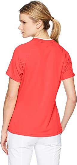 adidas Golf Women's Climachill Collarless Shirt, Real Coral, XL
