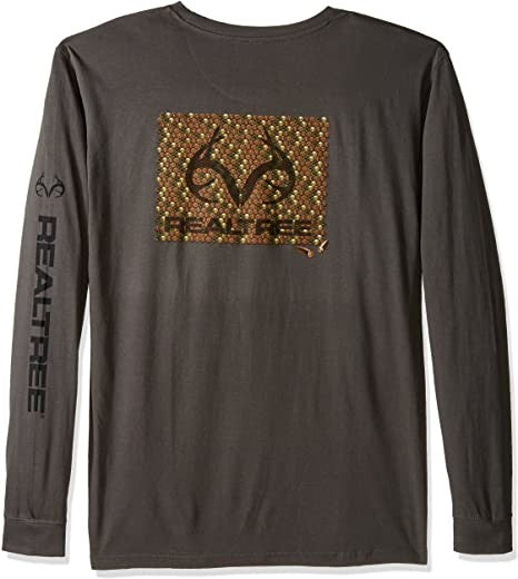 Realtree Rounds Screen Print Long Sleeve Tee, Medium, Charcoal