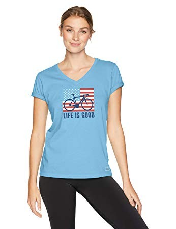 Life is Good Women's Crusher Vee Bike Partisan Powder Blue X-Small