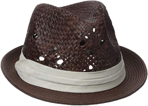 Karen Kane Women's Printed Raffia Crown with Braid Brim Hat Cocoa One Size