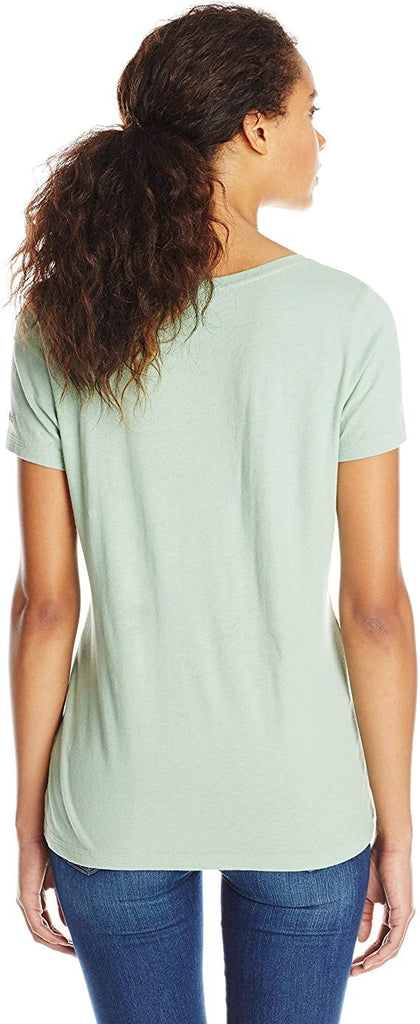 Life is good Women's Creamy Scoop Tribal Stitch T-Shirt (Minty Green) Small
