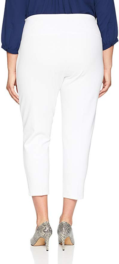 SLIM-SATION Women's Plus Size Pull On Solid Ponti Crop Legging White 1x