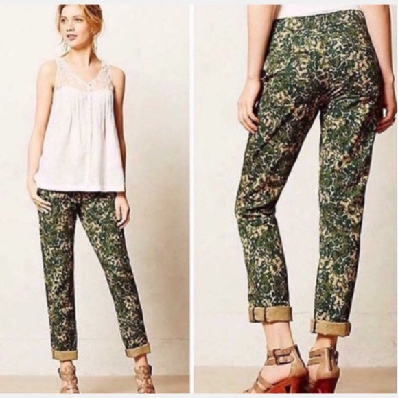 Hei Hei Women's Green Sylvan floral military Pants Size 27