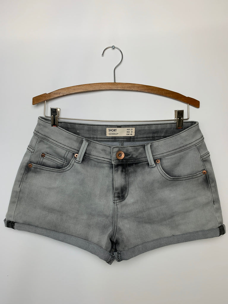 NWOT Cotton On Women's Gray roll up Denim Shorts Shorts Size 8