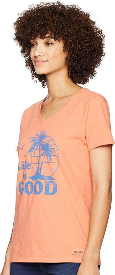 Life is Good Womens Beach Graphic T-Shirt V-Neck PalmsFresh CoralX-Large