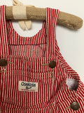 Oshkosh B'Gosh Girl's Red Stripe denim overall dress Dress Size 12m