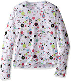 Hot Chillys Youth Pepper Skins Crewneck Dots & Hearts-White Medium