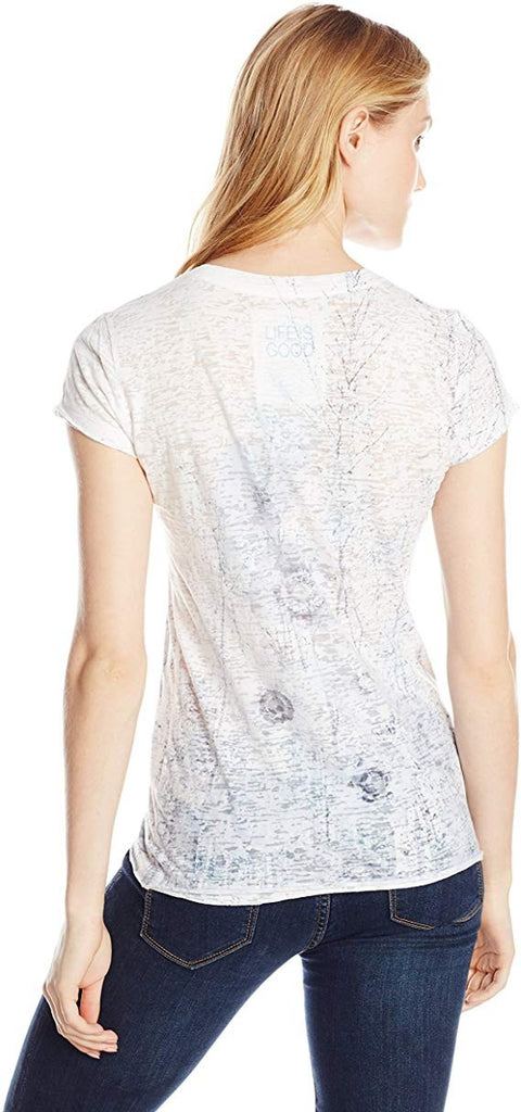 Life is Good Women's Topnotch Burnout Sun's Shine Tee Cloud White Medium