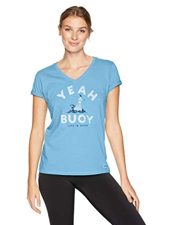 Life is Good Womens T-Shirt V-Neck Yeah Buoy Powder Blue XXX-Large