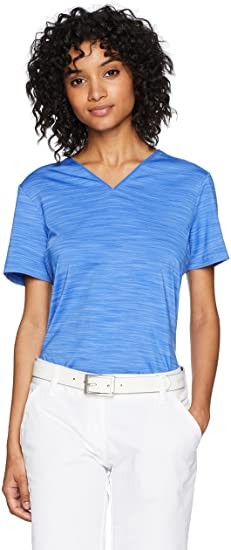 adidas Golf Women's Ultimate 365 Collarless Shirt, Hi-Res Blue, Small