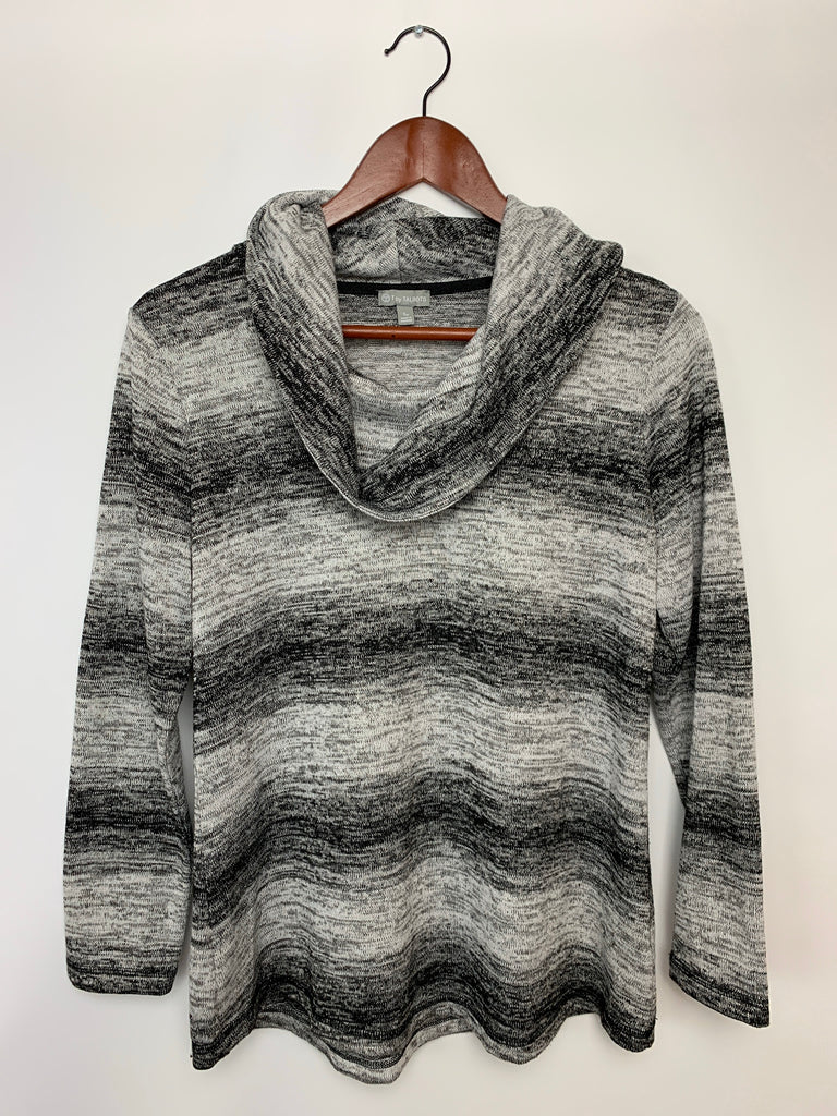 Talbots Women's Black White t by talbots pullover Cowl Neck Sweater Size S