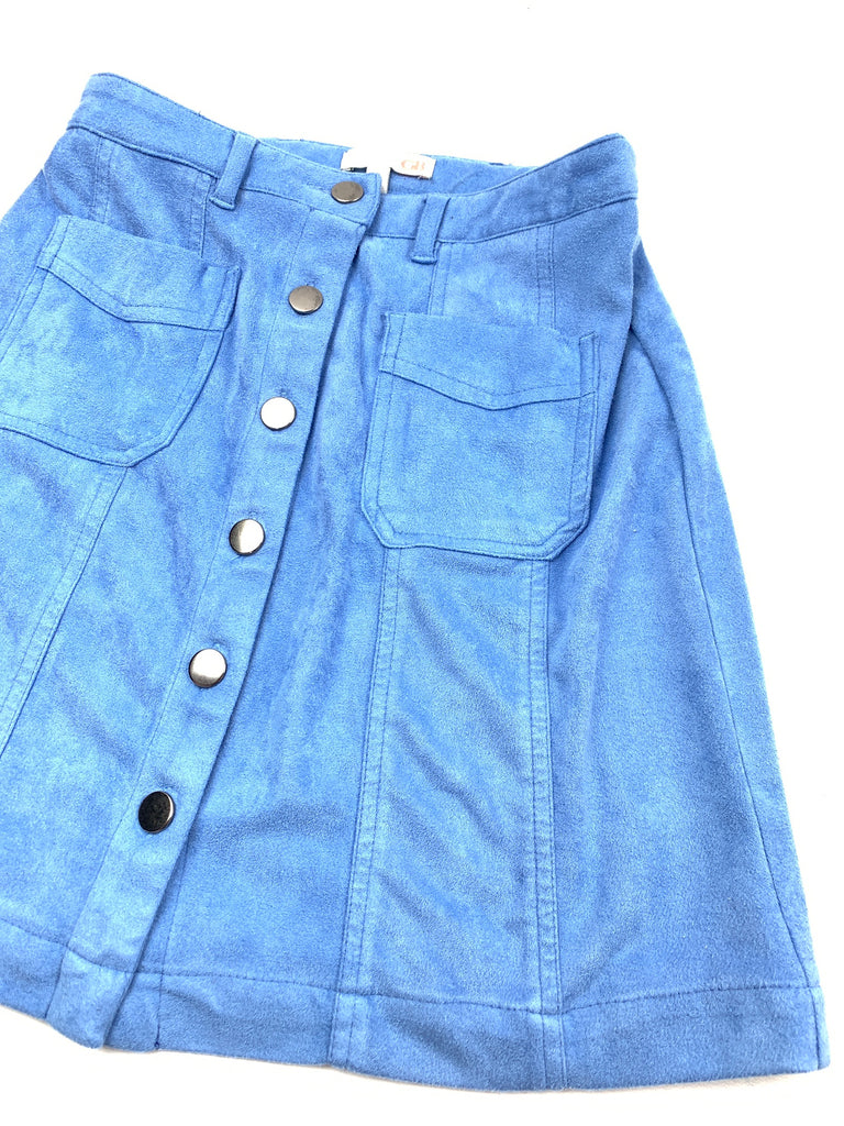 Gianni Bini Women's Blue Faux suede button down A-Line Skirt Size XS