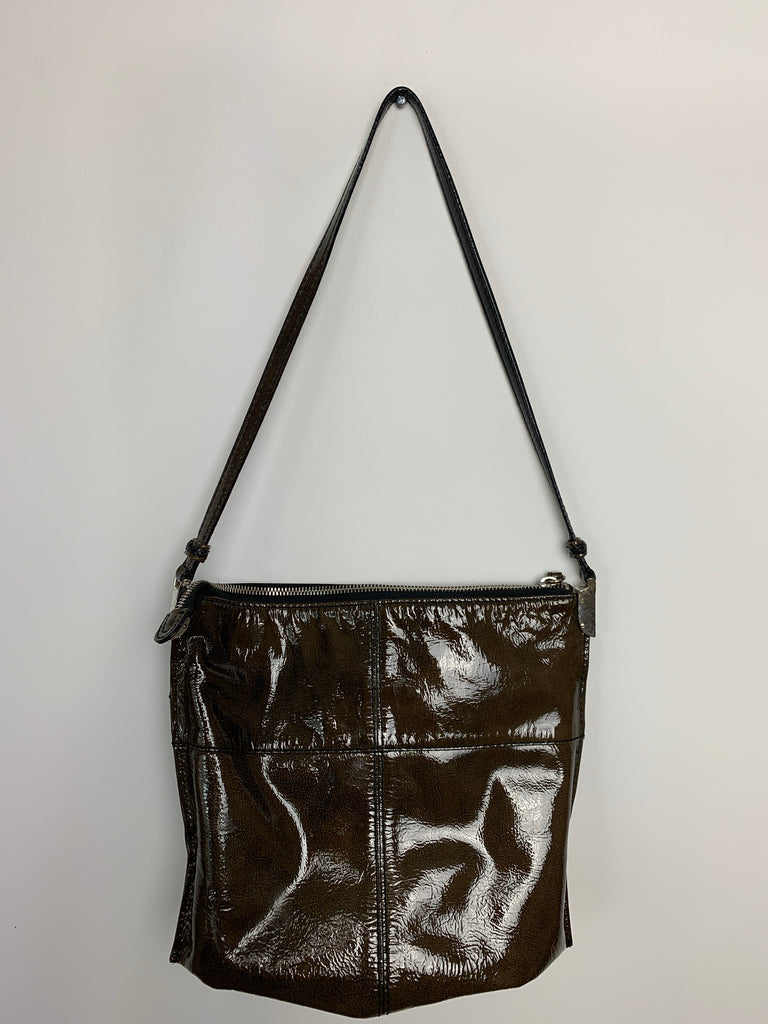 Brighton Women's Patent leather zip Shoulder Bag Size 12x9