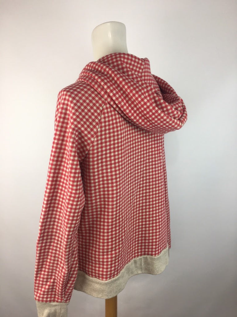 Alternative Earth Women's Red Check Full Zip Cotton Blend Hoodie Size L