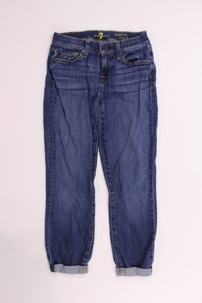 7 For All Mankind Women's The Skinny Crop & Roll Slim Skinny Jeans Size 25