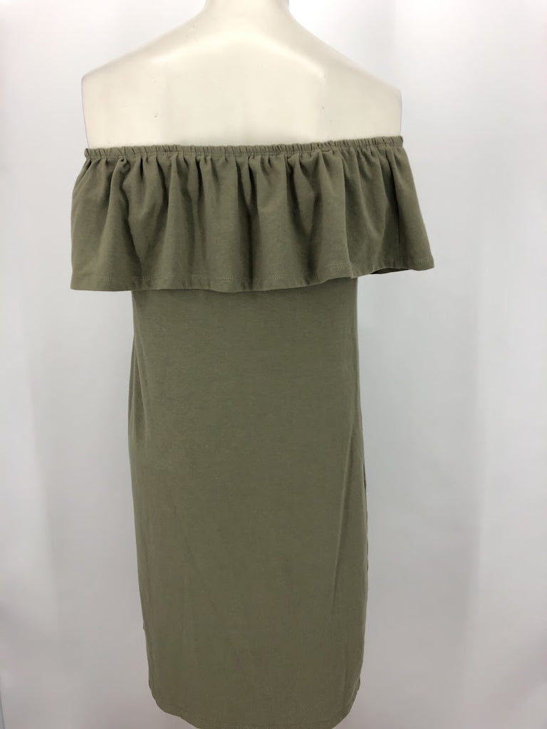 Cotton On Women's Green Solid Sleeveless Cotton Off Shoulder Dress Size M