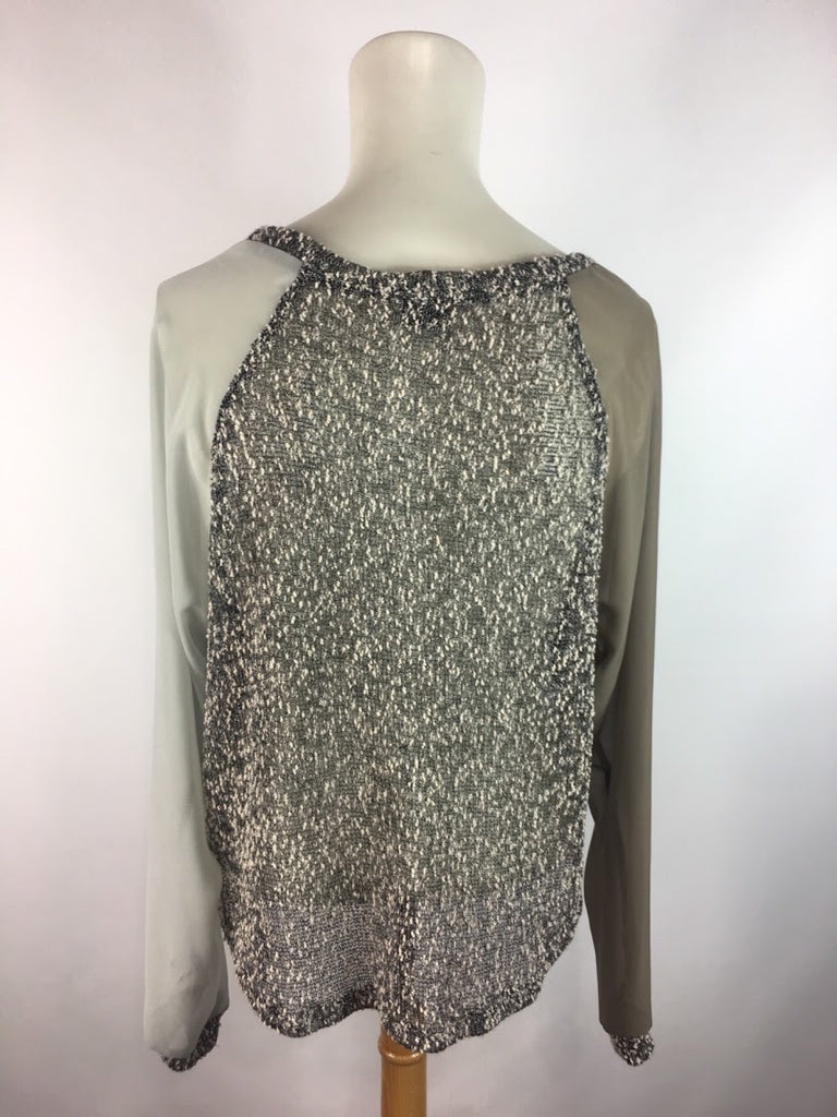 Sparkle&Fade Women's Gray Two Tone Sheer Sleeves Texture Knit Blouse Top Size S