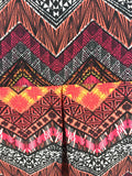Cato Women's Red Chevron Tribal Rolled Up Sleeves Polyester Tunic Top Size M