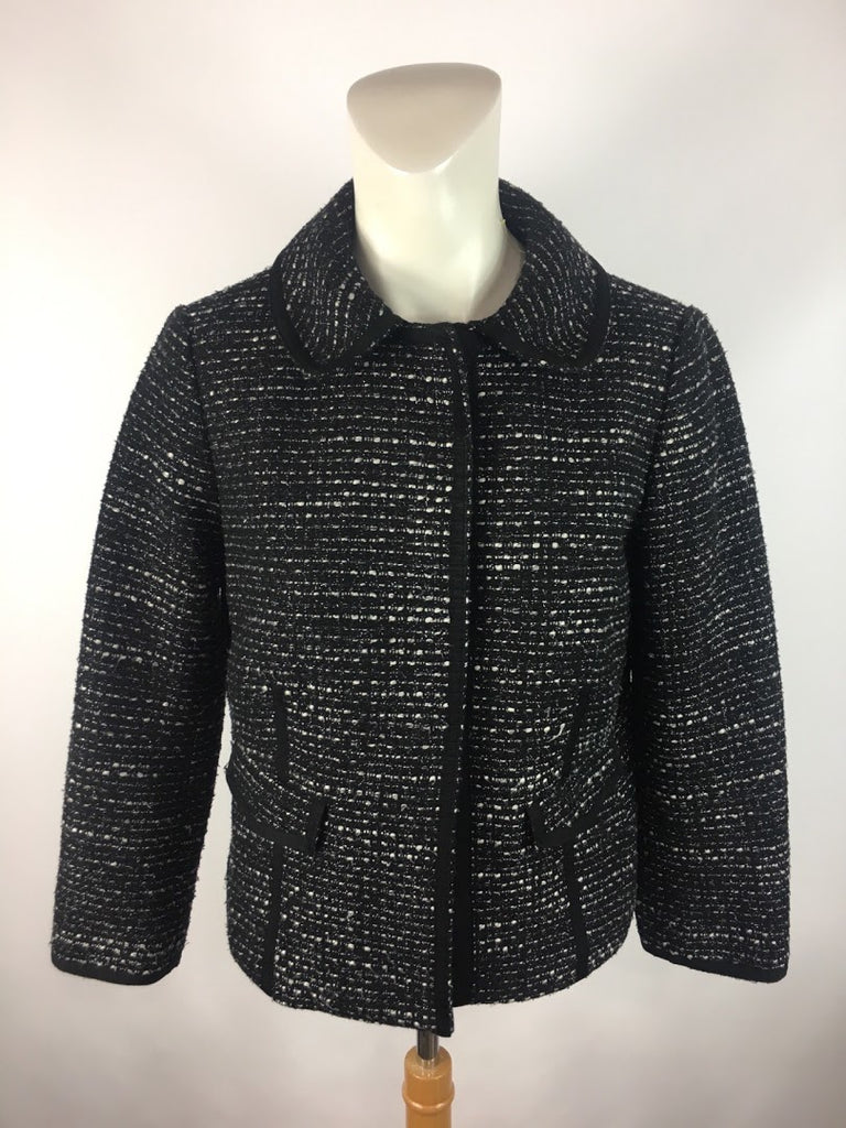 Talbots Women's Black Snap Button Career Woven Wool Blend Blazer Suit Size 2