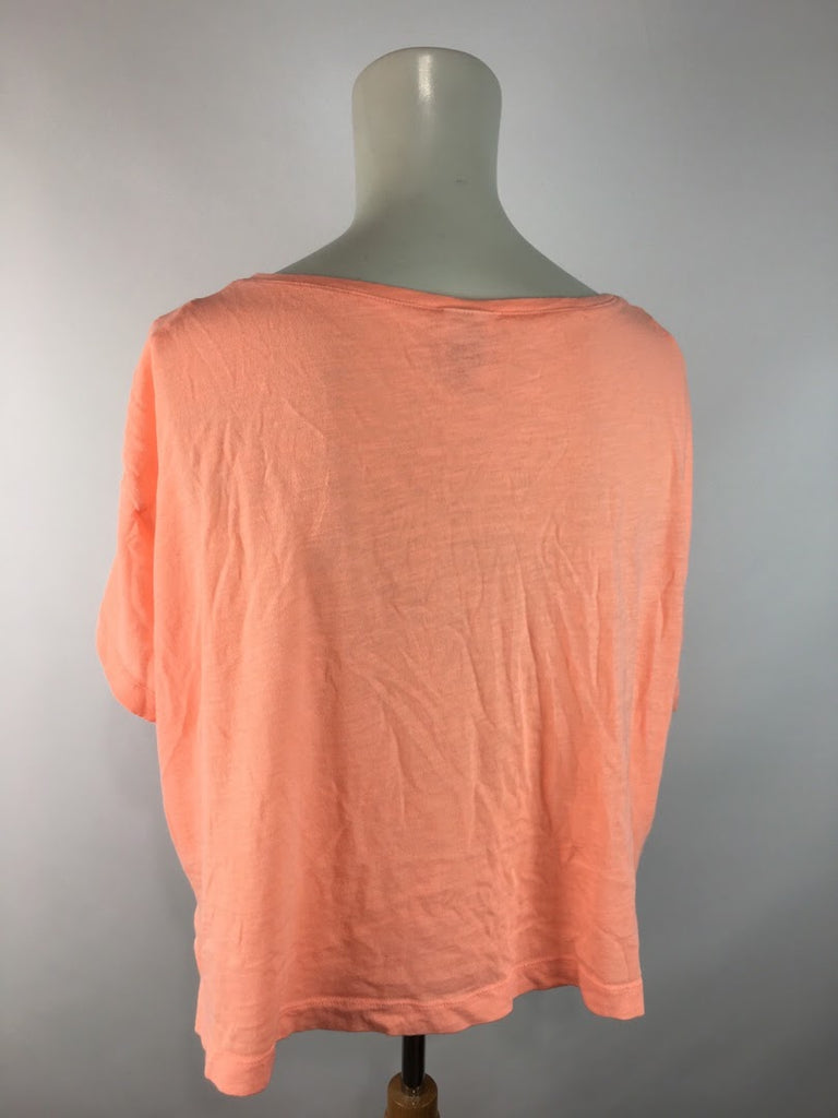 Pink Women's Oversize Short Sleeve Crop Top Top Size S