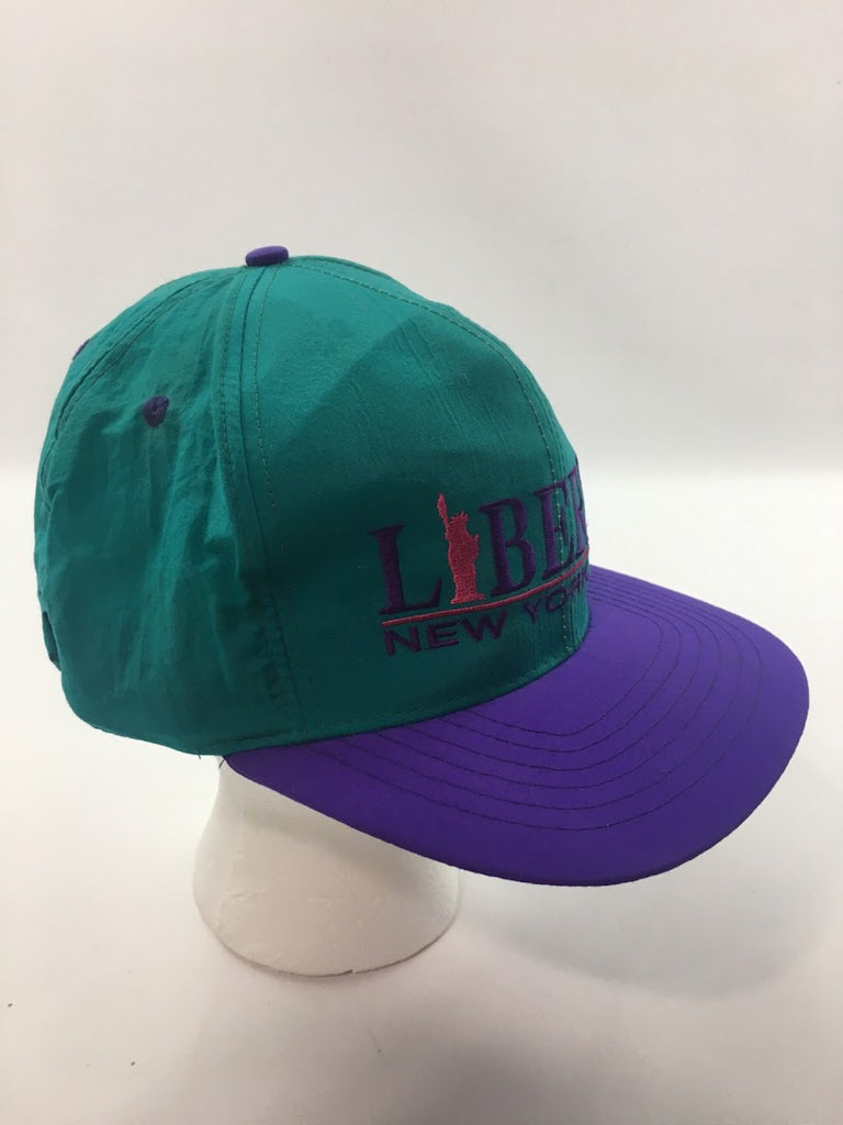 Vintage Men's Purple Teal 90S Statue Of Liberty Flat Cap Hat Size Os