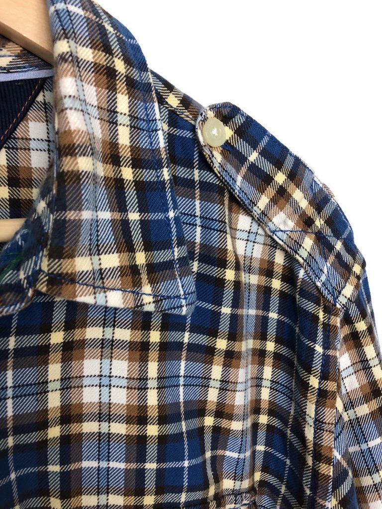 Tommy Hilfiger Men's Cream Blue Plaid Trim Fit Shirt Size L