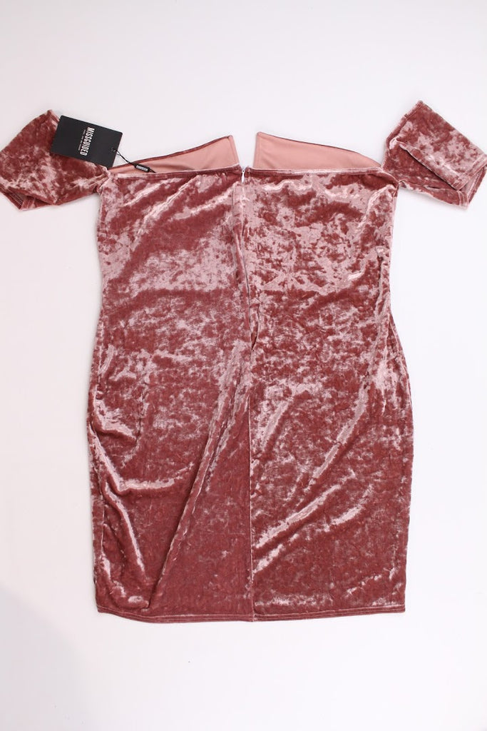 NWT Missguided Women's Pink Cold Shoulder Stretchy Velour Dress Size 18