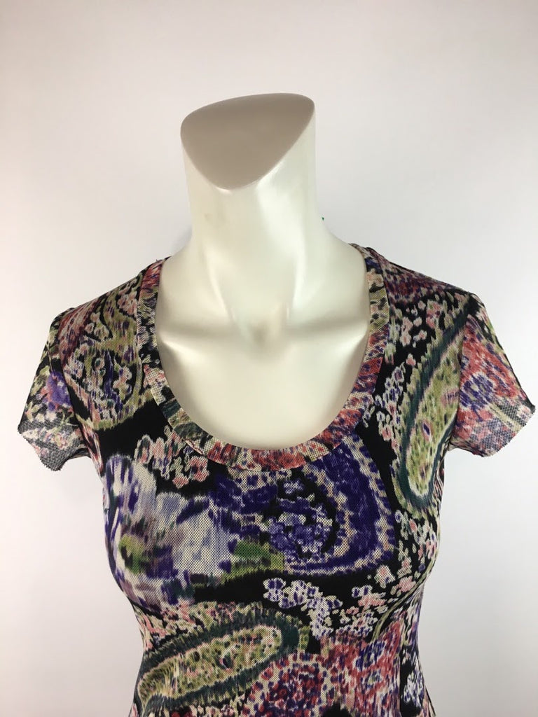 Bisou Bisou Women's Multi-Color Paisley Net Sheer Bodycon Blouse Top Size S