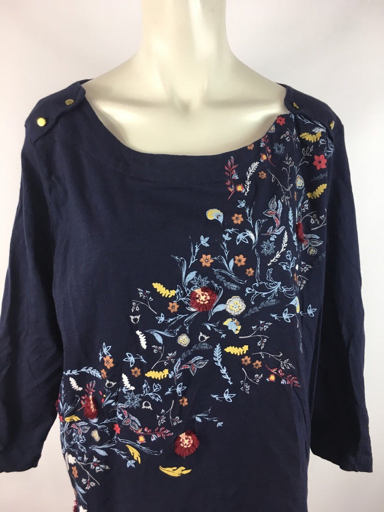 Ambria Women's Navy Blue Floral 3/4 Sleeves Blouse Top Size 18