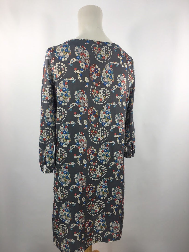 Criss Cross Women's Gray Paisley Floral 3/4 Sleeves Shift Dress Size M