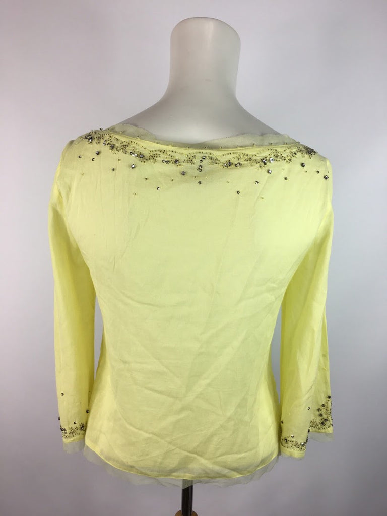 Odille Women's Yellow Rhinestone Sequin Trim Long Sleeve Blouse Top Size 0