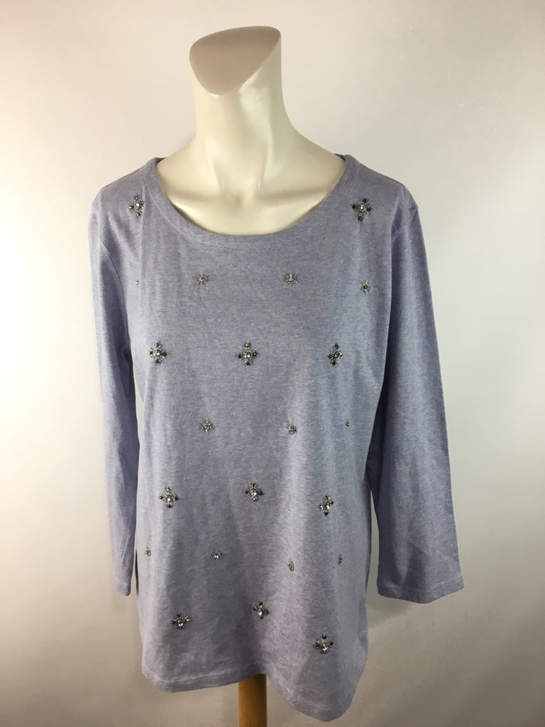 NWOT Talbots Women's Blue Rhinestone Jewels Long Sleeve Blouse Top Size L
