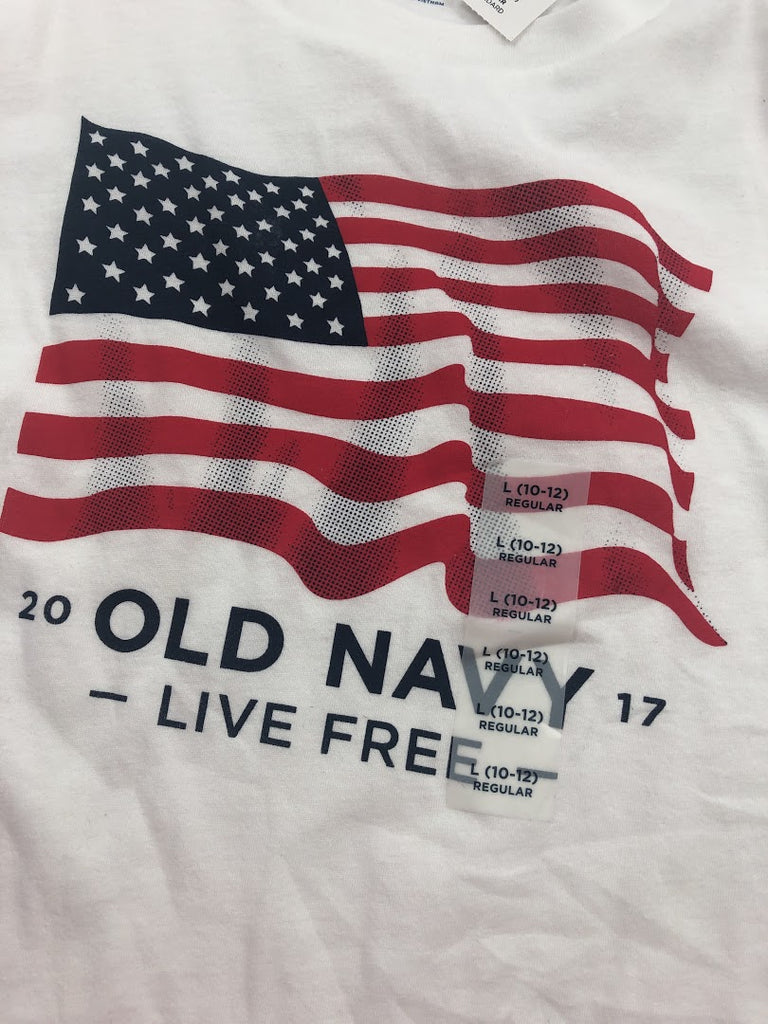 Old Navy Boy's White American Flag Short Sleeve Shirt Size L