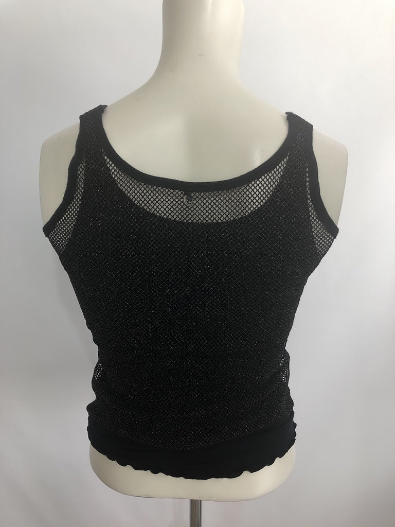 One Girl Who Women's Navy Blue Stretchy Metallic Fitted Tank Cami Top Size S
