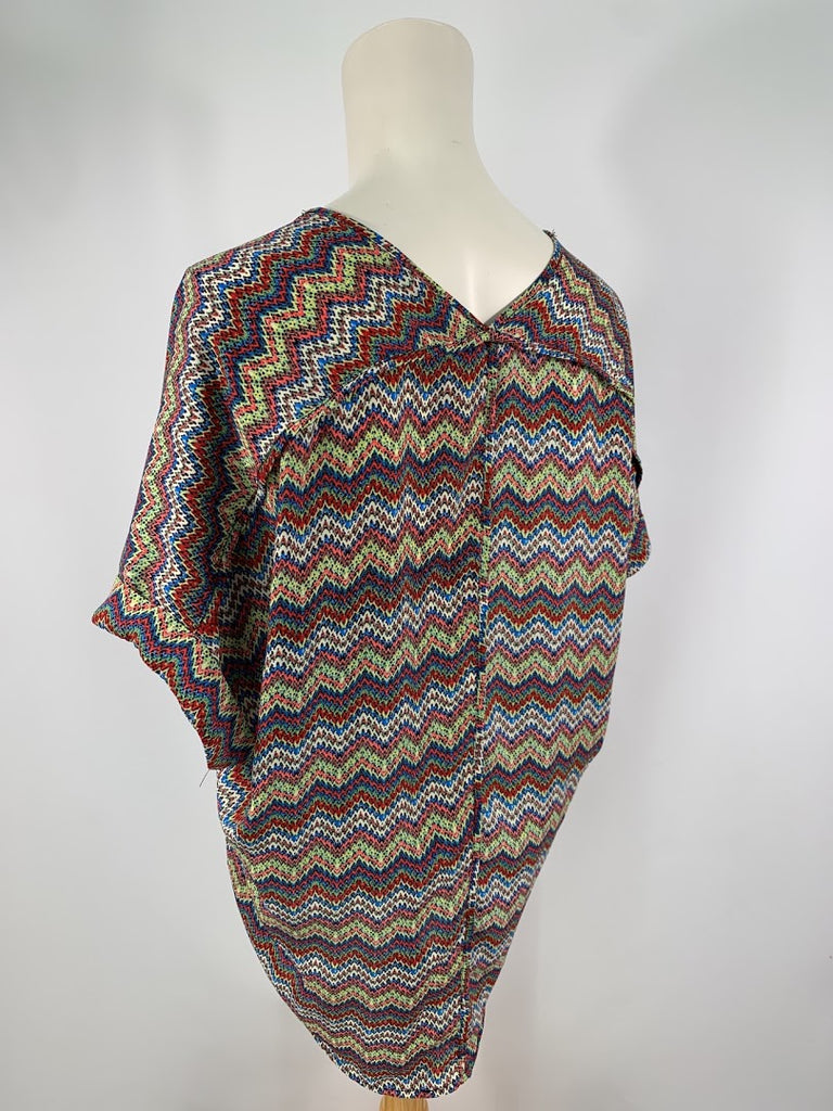 Lush Women's Zig Zag V-Neck Polyester Blouse Top Size S