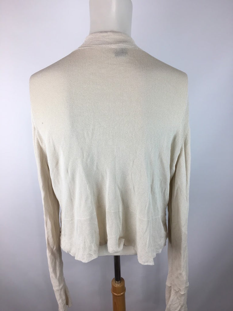 Eileen Fisher Women's Cream Cardiwrap Viscose Knit Top Top Size M