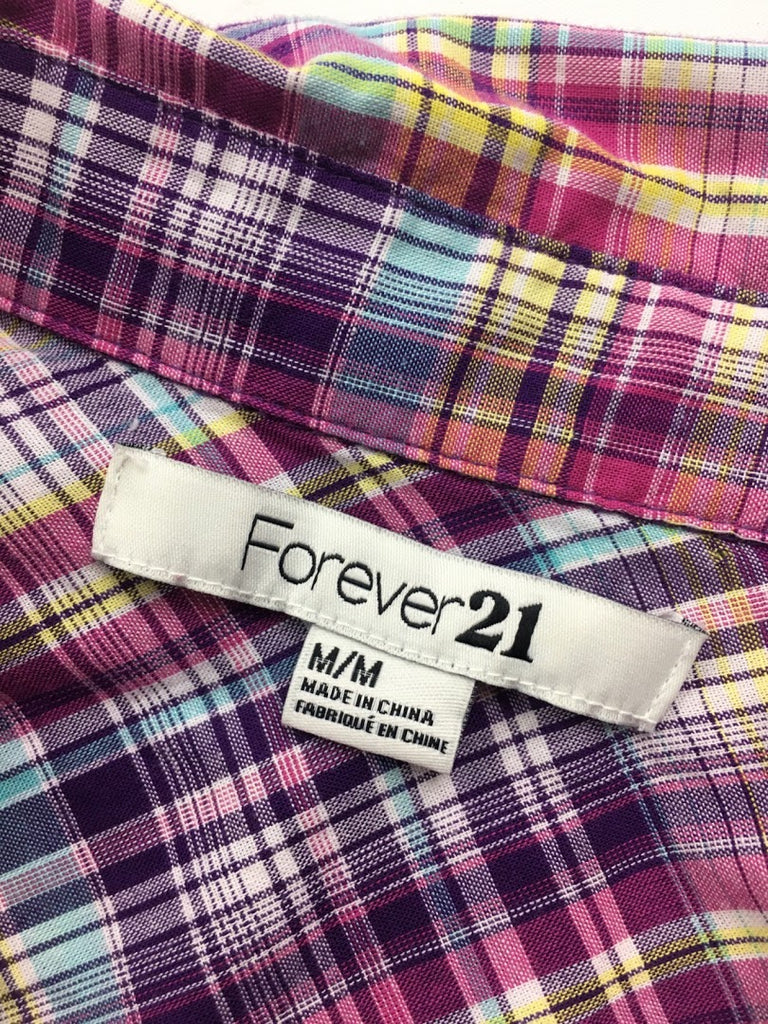 Forever 21 Women's Plaid Button Down 3/4 Sleeves Cotton T-Shirt Dress Size M