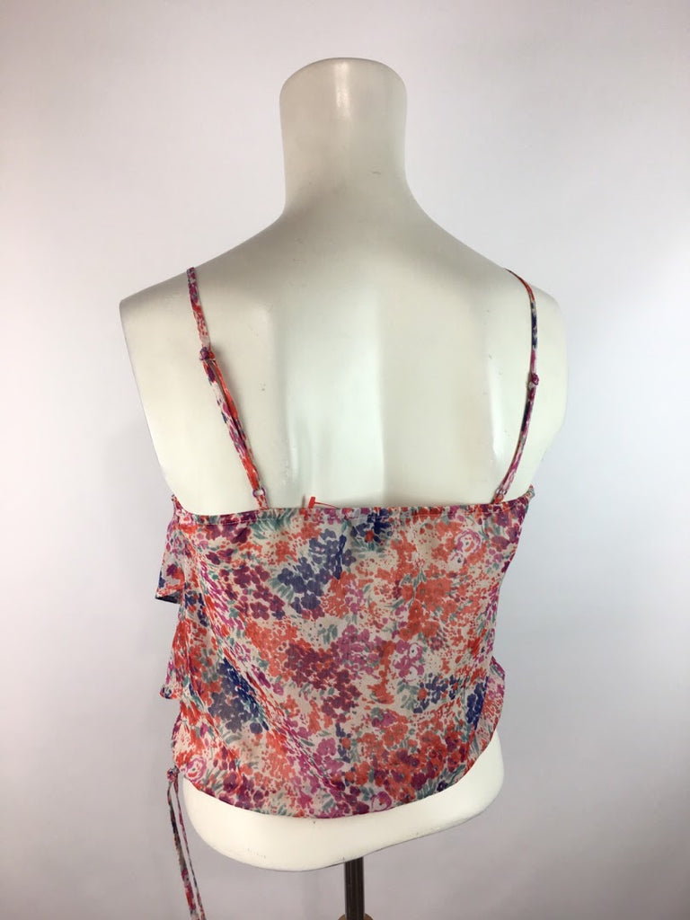 American Eagle Women's Floral Blouson Sheer Sleeveless Crop Top Top Size Xs
