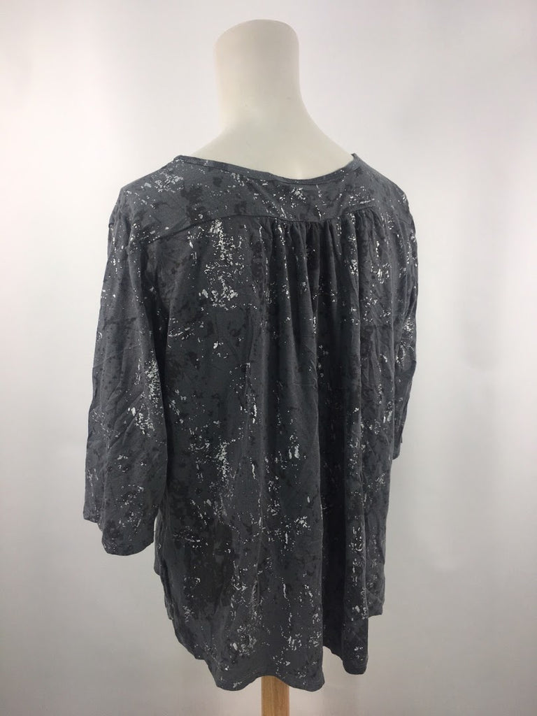 Tees 2 Please Women's Gray Speckled 3/4 Sleeves Blouse Top Size 14/16